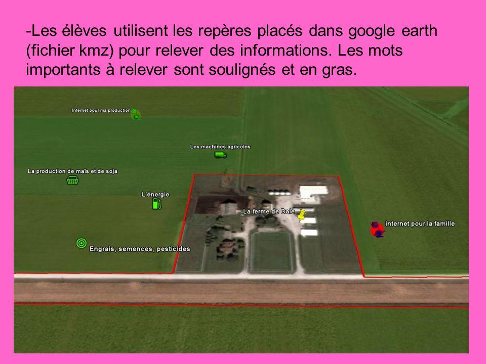 -Les élèves utilisent les repères placés dans google earth (fichier kmz) pour relever des informations.
