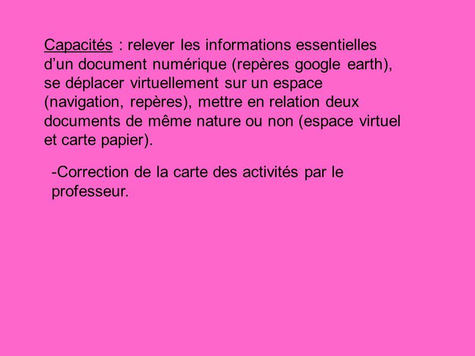 Capacités : relever les informations essentielles d'un document numérique (repères google earth), se déplacer virtuellement sur un espace (navigation, repères), mettre en relation deux documents de même nature ou non (espace virtuel et carte papier).