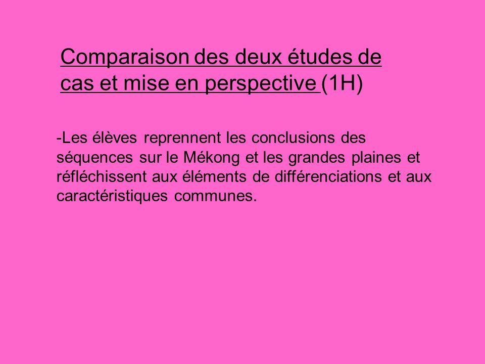 Comparaison des deux études de cas et mise en perspective (1H)