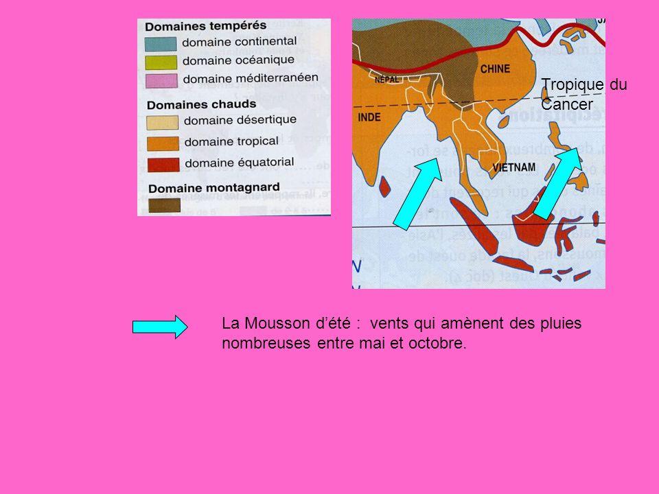 Tropique du Cancer La Mousson d'été : vents qui amènent des pluies nombreuses entre mai et octobre.