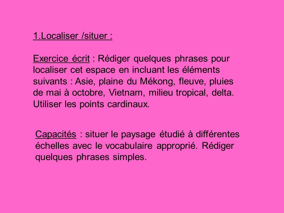 1.Localiser /situer :