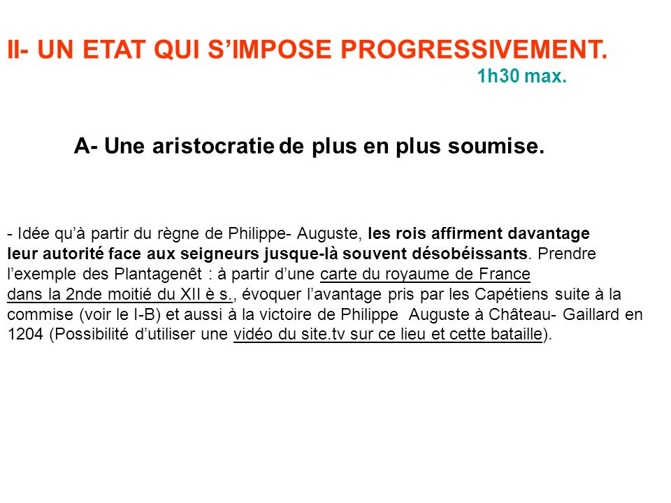 II- UN ETAT QUI S'IMPOSE PROGRESSIVEMENT.