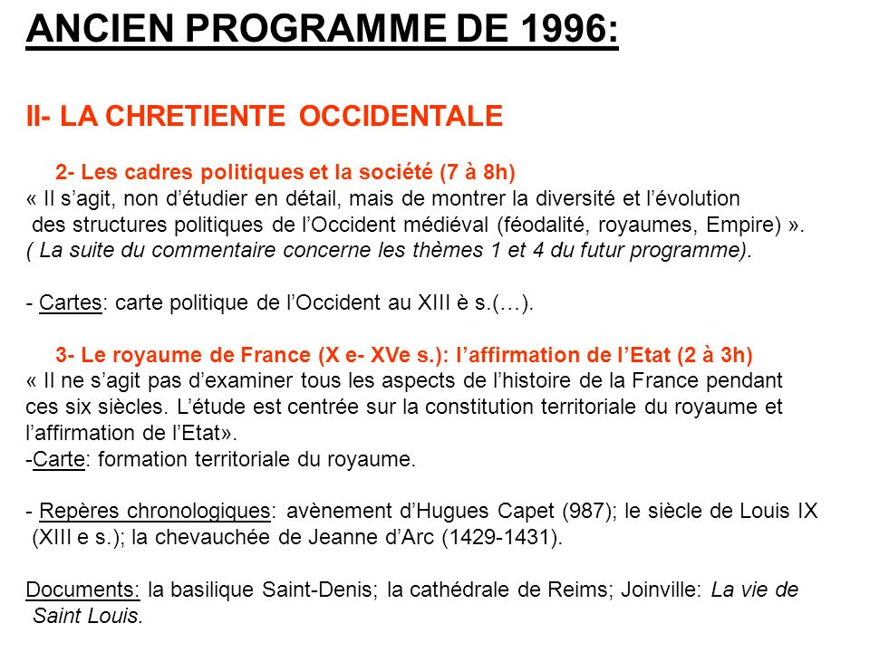 ANCIEN PROGRAMME DE 1996: II- LA CHRETIENTE OCCIDENTALE