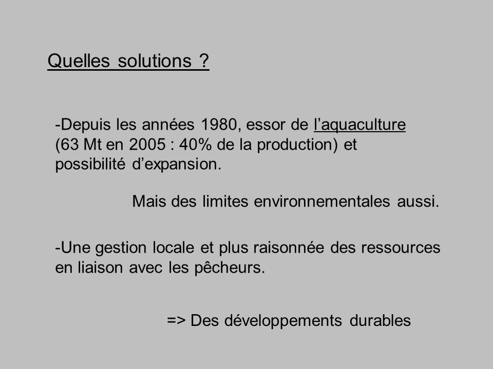 Quelles solutions -Depuis les années 1980, essor de l'aquaculture (63 Mt en 2005 : 40% de la production) et possibilité d'expansion.