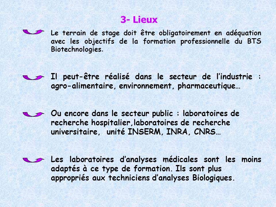 3- LieuxLe terrain de stage doit être obligatoirement en adéquation avec les objectifs de la formation professionnelle du BTS Biotechnologies.