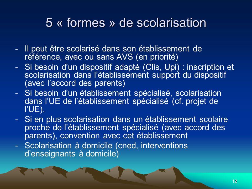 5 « formes » de scolarisation