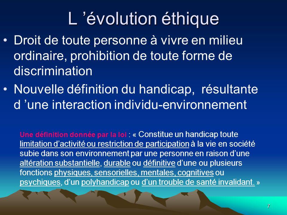 L 'évolution éthique Droit de toute personne à vivre en milieu ordinaire, prohibition de toute forme de discrimination.