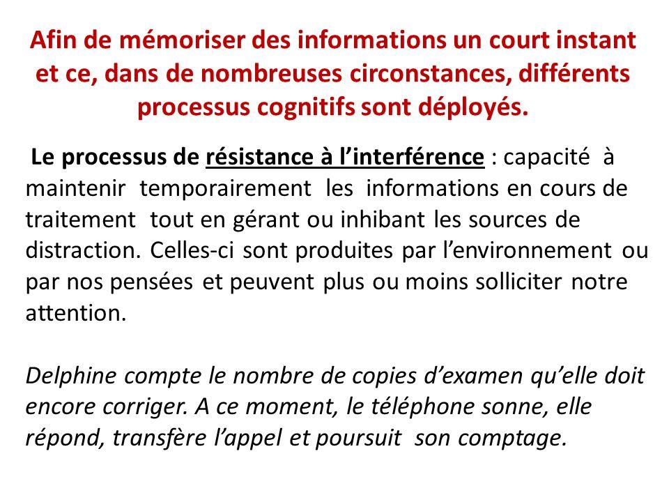 Afin de mémoriser des informations un court instant et ce, dans de nombreuses circonstances, différents processus cognitifs sont déployés.