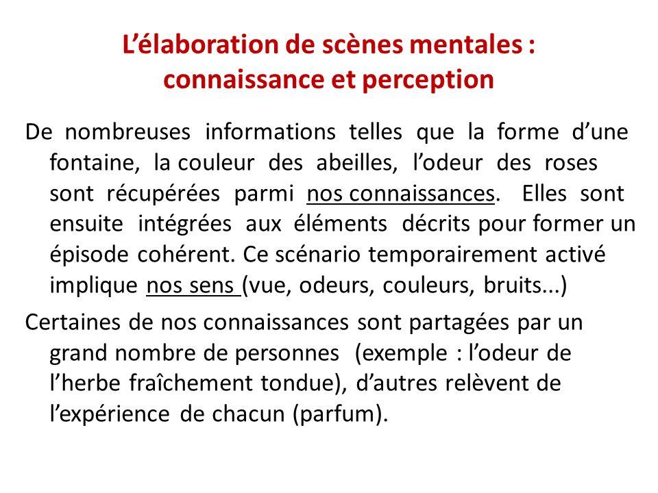 L'élaboration de scènes mentales : connaissance et perception