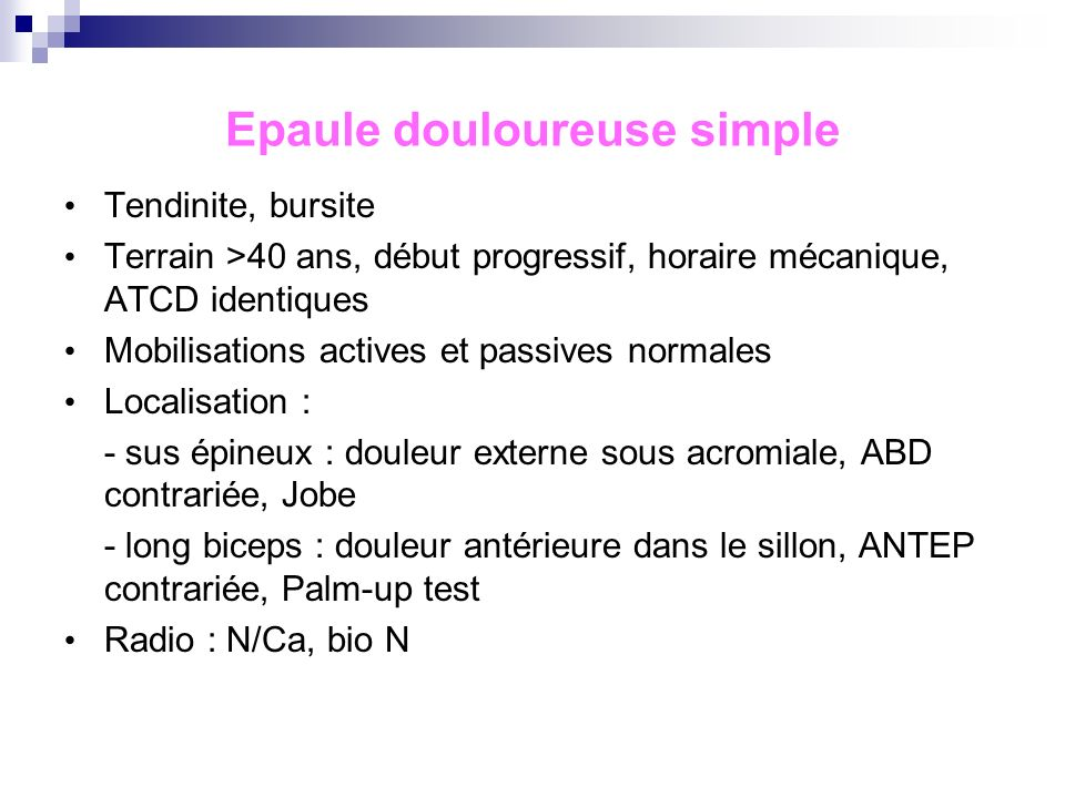 Epaule douloureuse simple