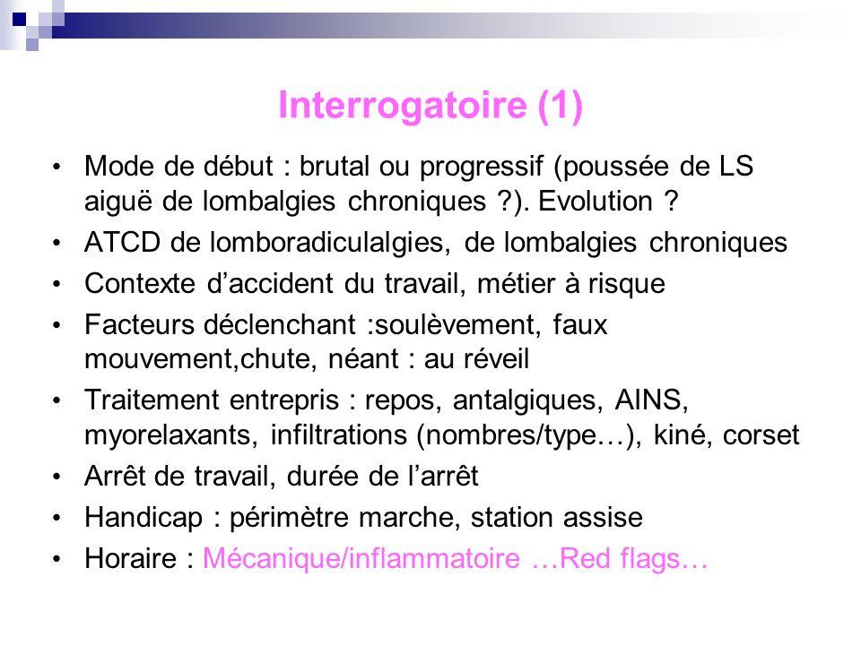 Interrogatoire (1) Mode de début : brutal ou progressif (poussée de LS aiguë de lombalgies chroniques ). Evolution