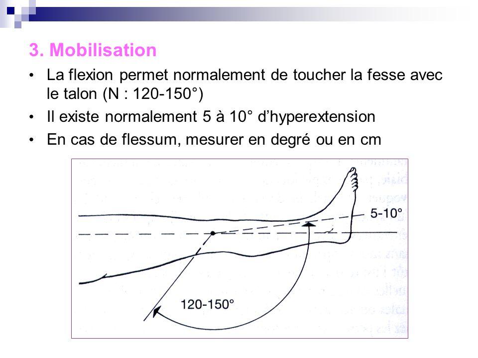 3. Mobilisation La flexion permet normalement de toucher la fesse avec le talon (N : 120-150°) Il existe normalement 5 à 10° d'hyperextension.