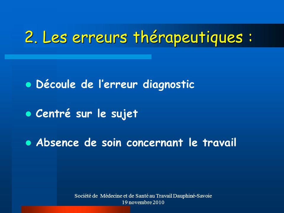 2. Les erreurs thérapeutiques :