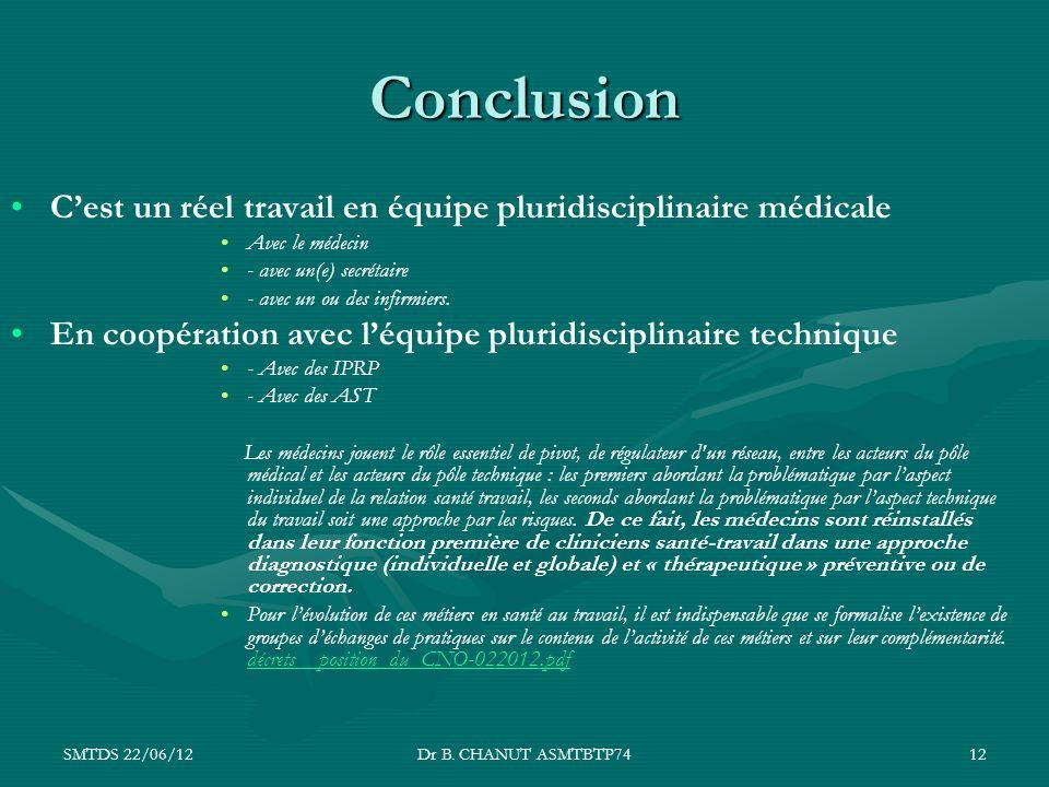 Conclusion C'est un réel travail en équipe pluridisciplinaire médicale