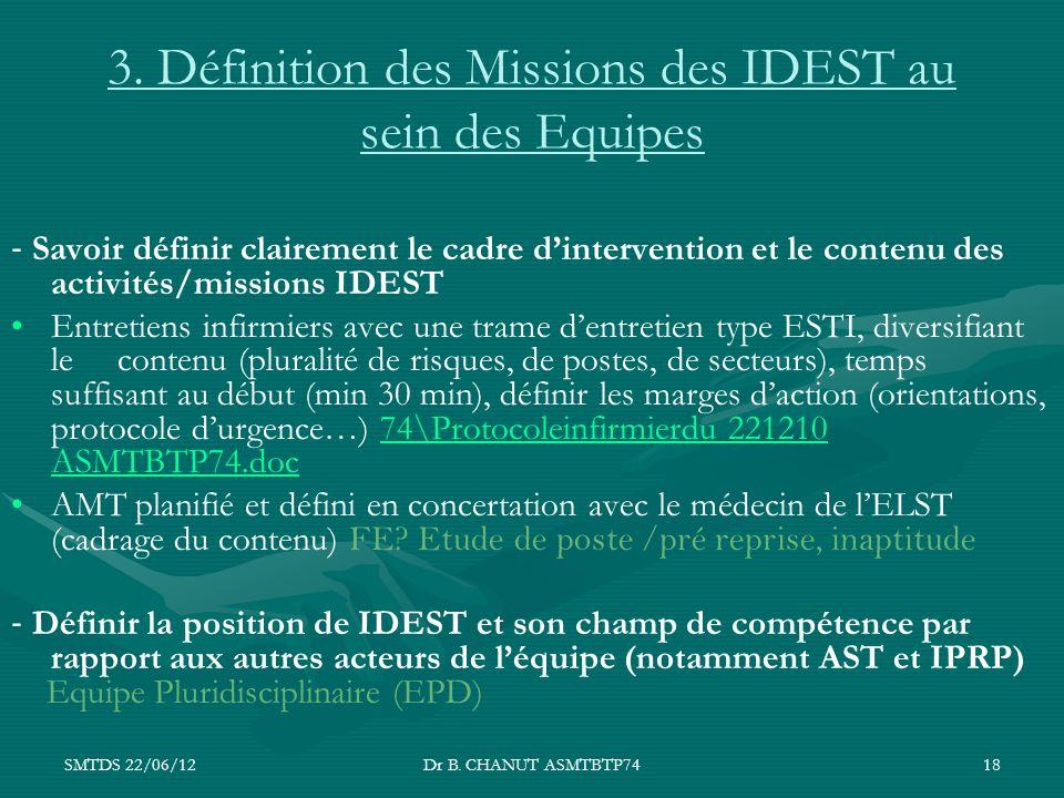 3. Définition des Missions des IDEST au sein des Equipes