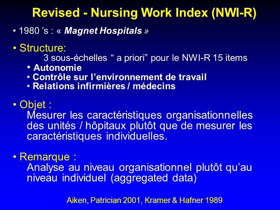 Revised - Nursing Work Index (NWI-R)