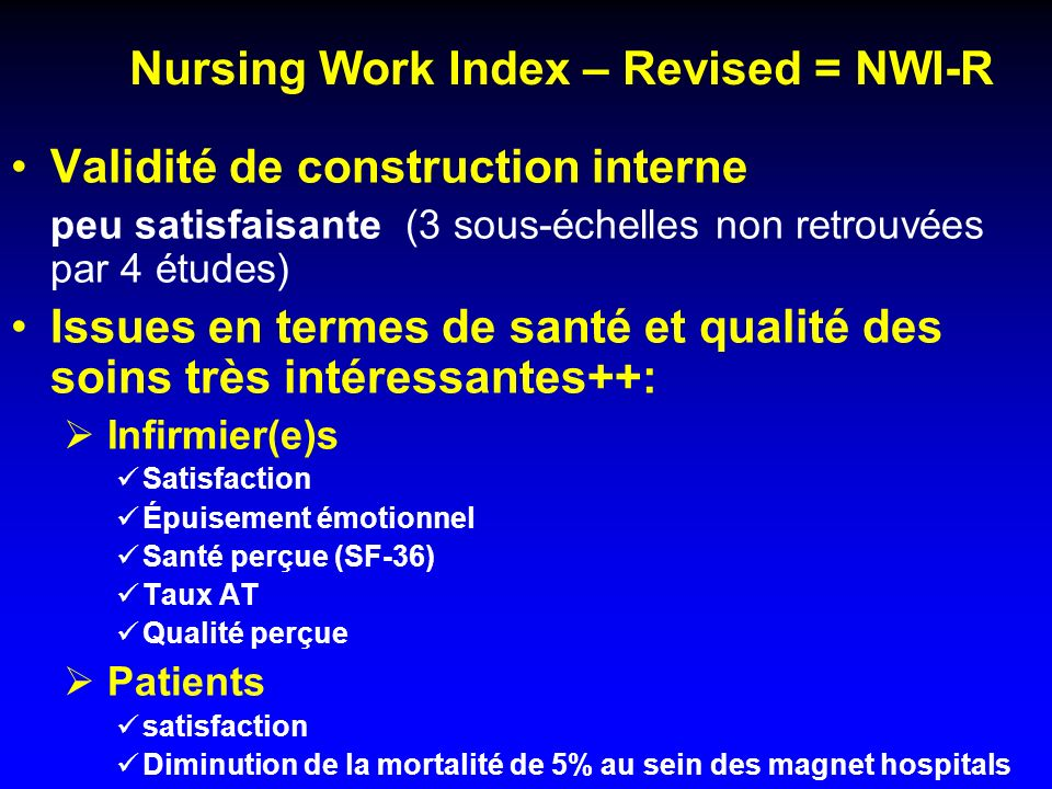Nursing Work Index – Revised = NWI-R
