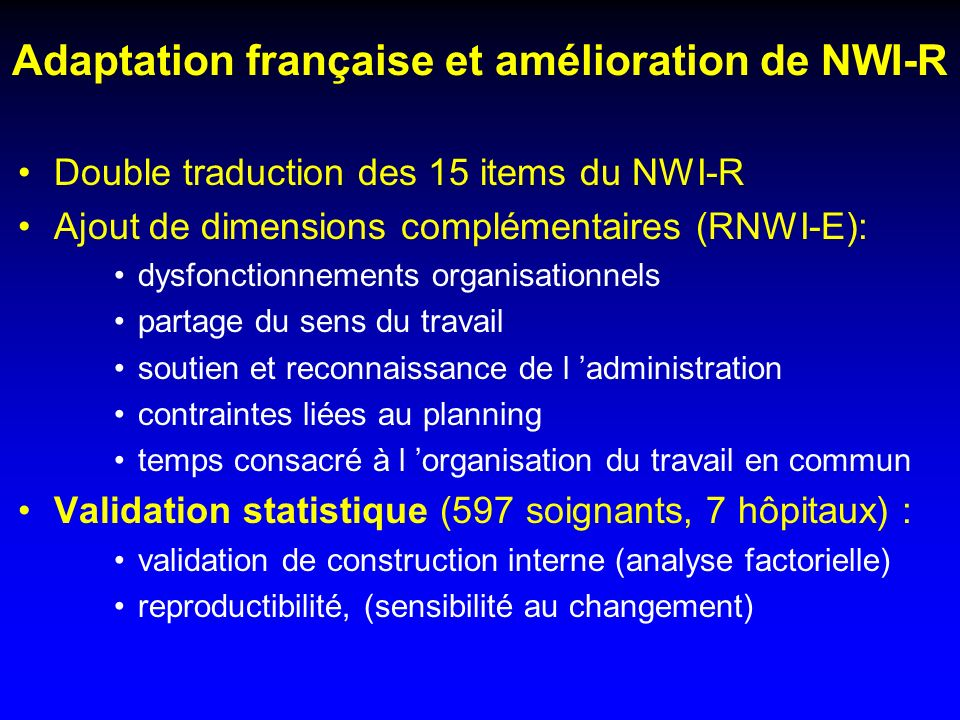 Adaptation française et amélioration de NWI-R