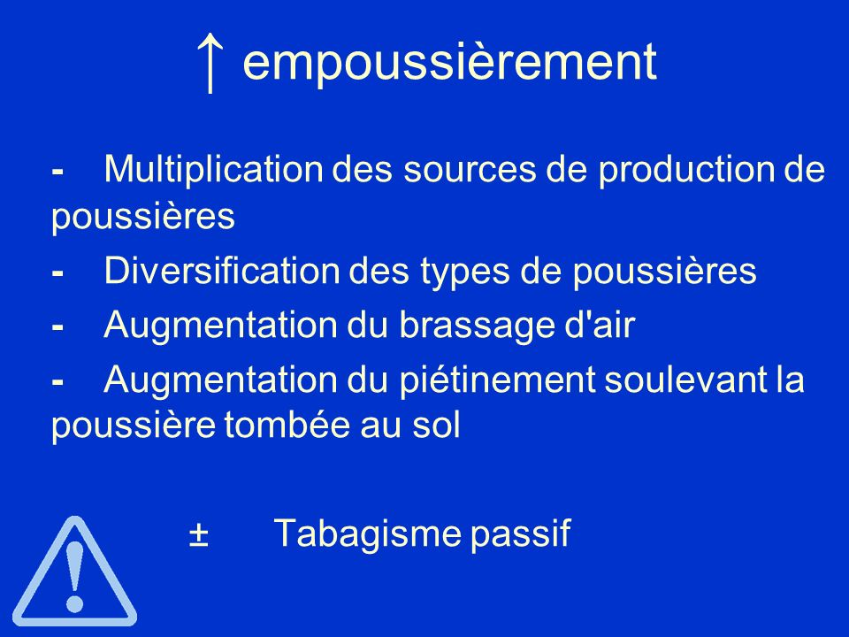 ↑ empoussièrement - Multiplication des sources de production de poussières. - Diversification des types de poussières.