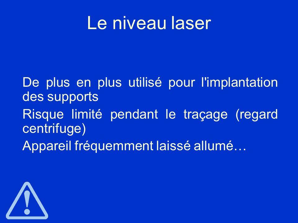 Le niveau laser De plus en plus utilisé pour l implantation des supports. Risque limité pendant le traçage (regard centrifuge)