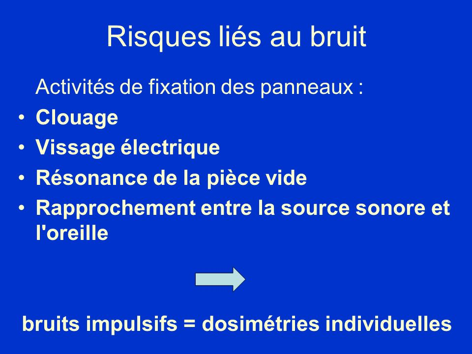 bruits impulsifs = dosimétries individuelles