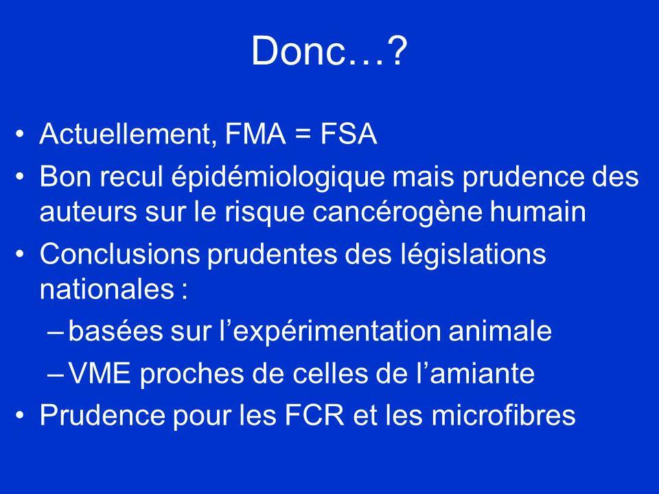 Donc… Actuellement, FMA = FSA