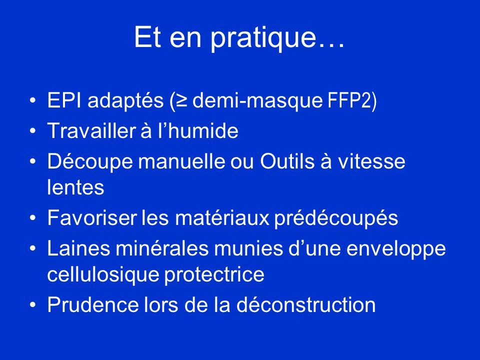 Et en pratique… EPI adaptés (≥ demi-masque FFP2) Travailler à l'humide
