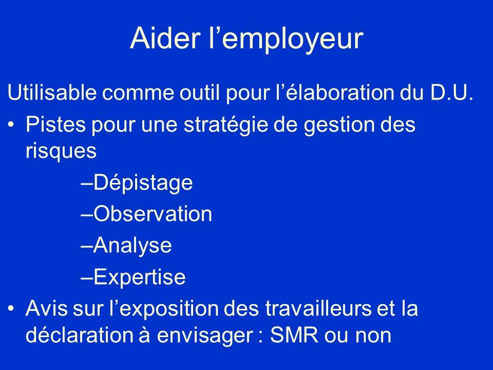 Aider l'employeur Utilisable comme outil pour l'élaboration du D.U.