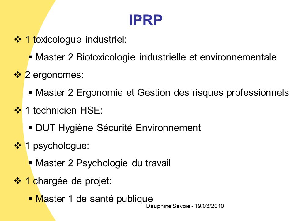 IPRP 1 toxicologue industriel:
