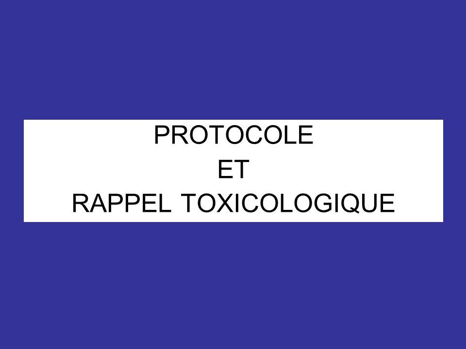 PROTOCOLE ET RAPPEL TOXICOLOGIQUE
