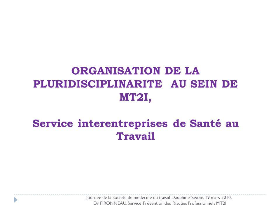 Dr PIRONNEAU, Service Prévention des Risques Professionnels MT2I