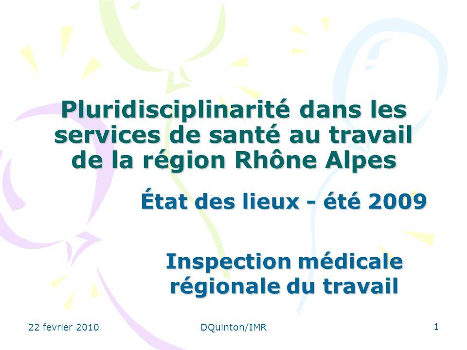 État des lieux - été 2009 Inspection médicale régionale du travail
