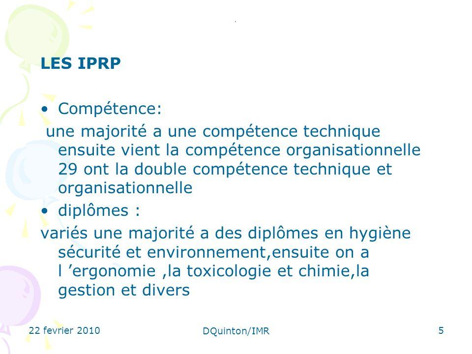 . LES IPRP. Compétence: