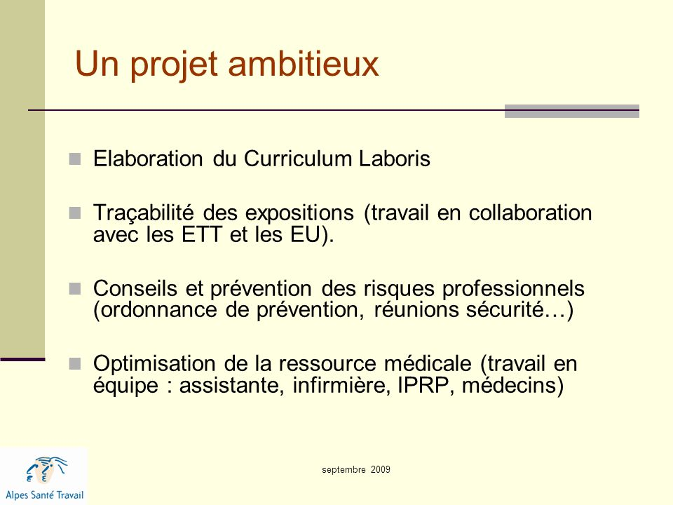 Un projet ambitieux Elaboration du Curriculum Laboris