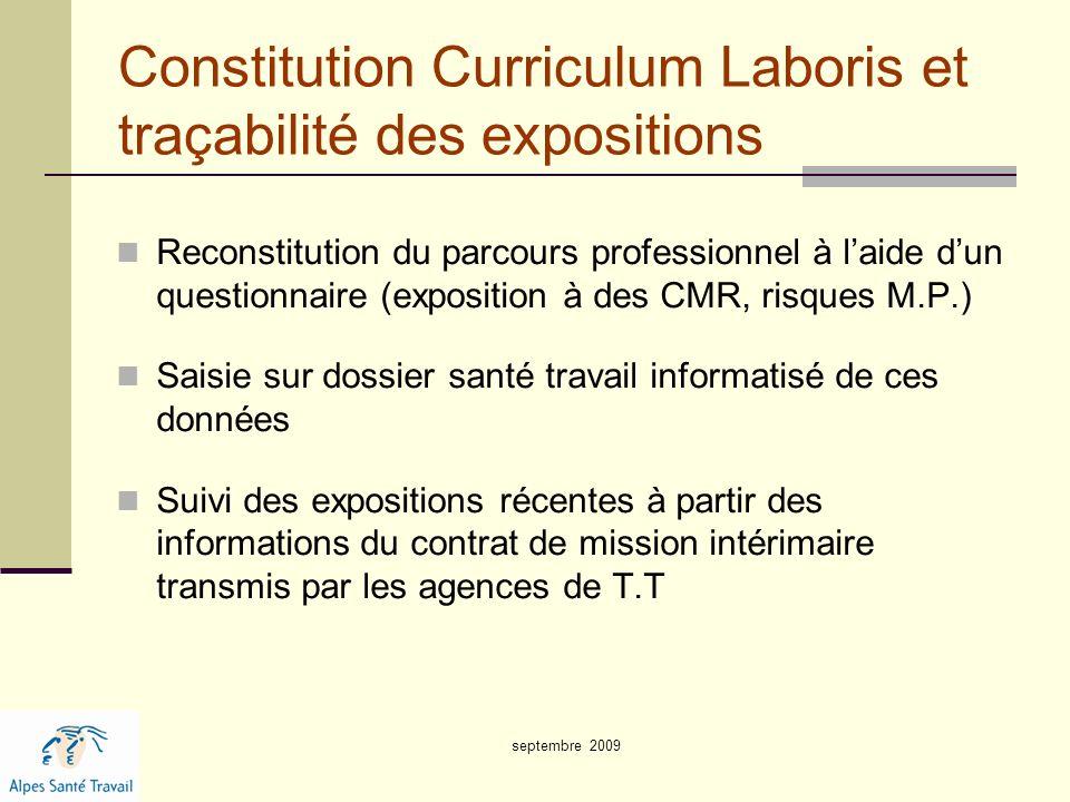 Constitution Curriculum Laboris et traçabilité des expositions