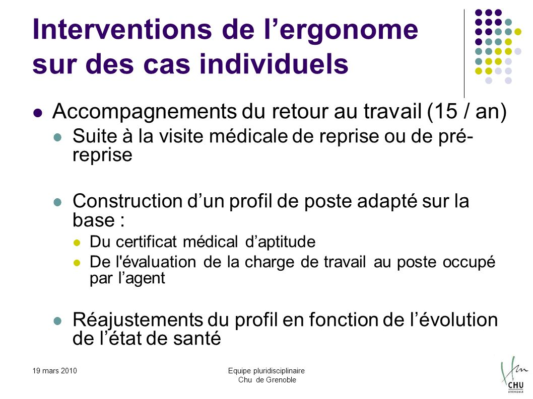 Interventions de l'ergonome sur des cas individuels