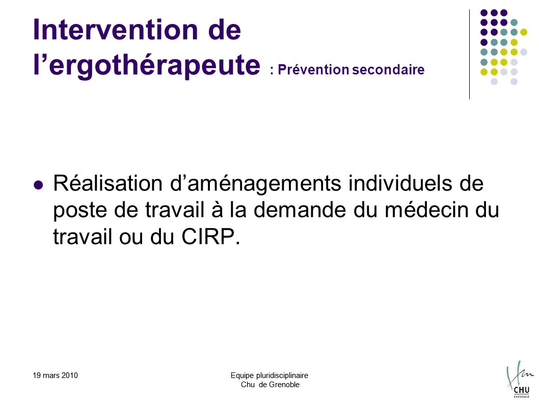Intervention de l'ergothérapeute : Prévention secondaire