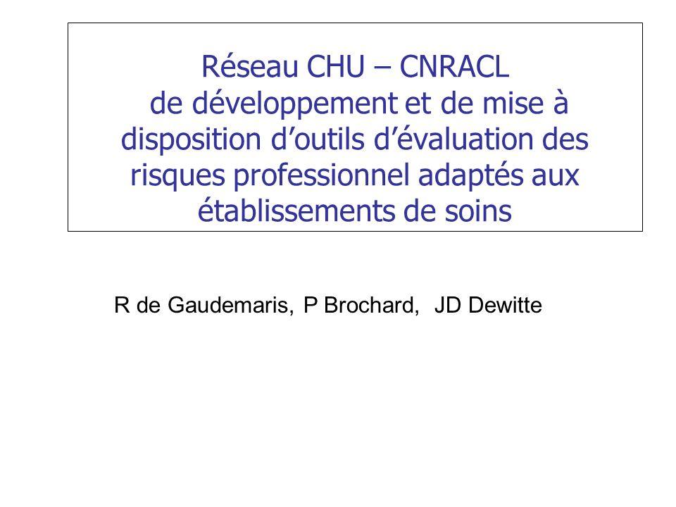 Réseau CHU – CNRACL de développement et de mise à disposition d'outils d'évaluation des risques professionnel adaptés aux établissements de soins