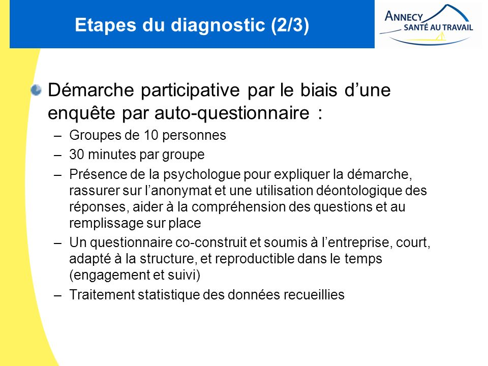 Etapes du diagnostic (2/3)
