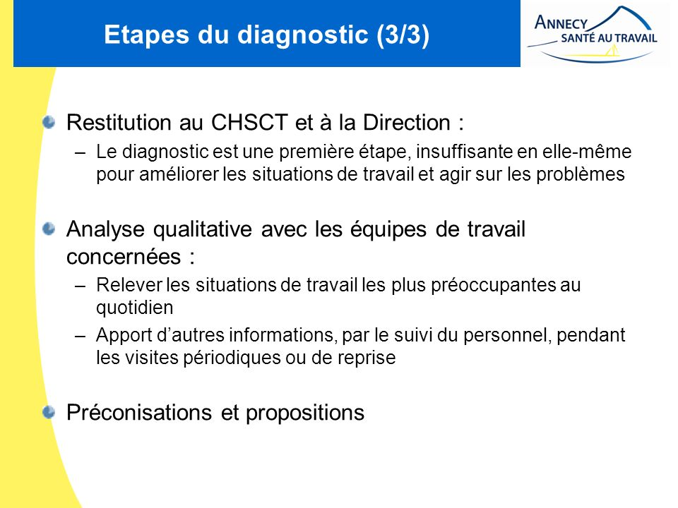 Etapes du diagnostic (3/3)