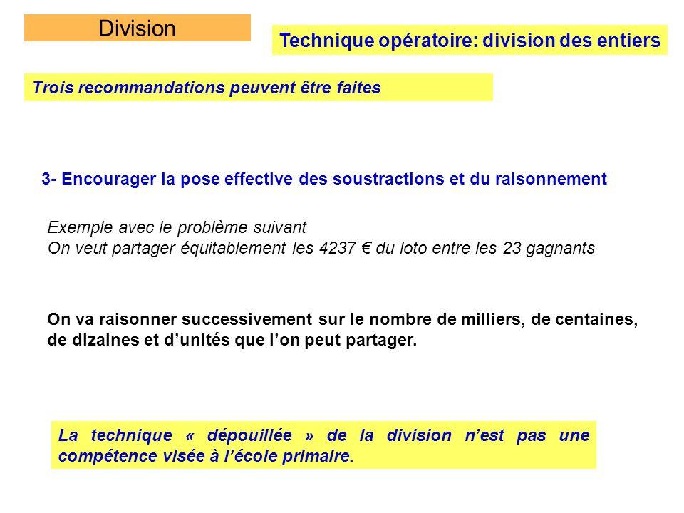 Division Technique opératoire: division des entiers