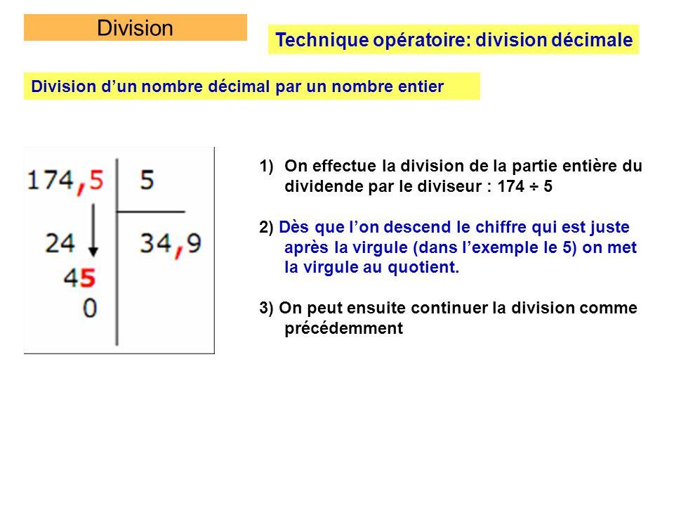 Division Technique opératoire: division décimale