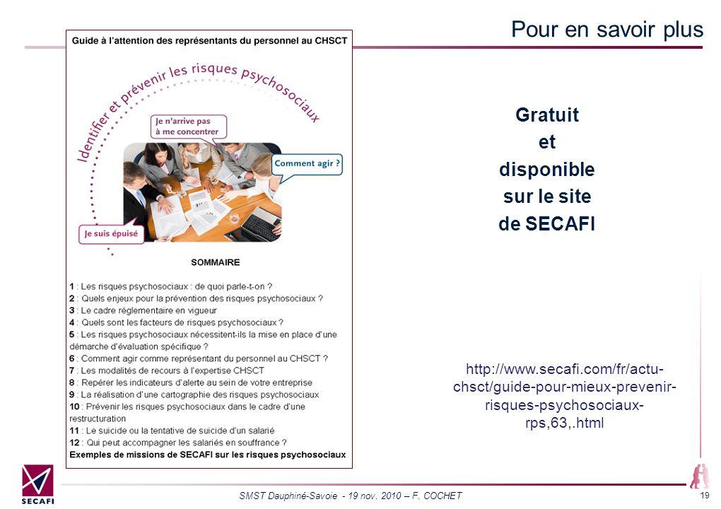 Pour en savoir plus Gratuit et disponible sur le site de SECAFI