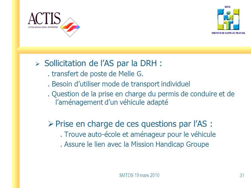 Sollicitation de l'AS par la DRH :