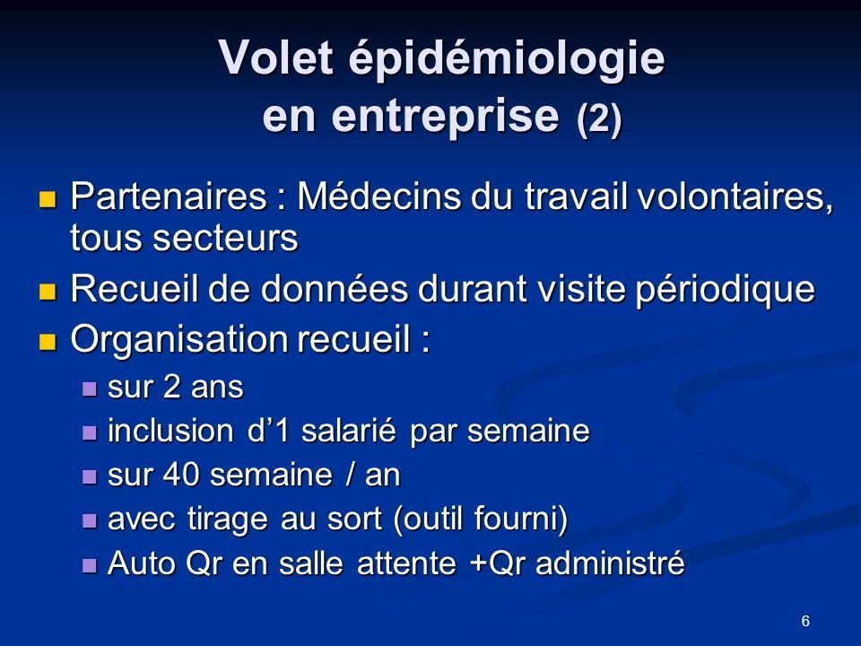 Volet épidémiologie en entreprise (2)