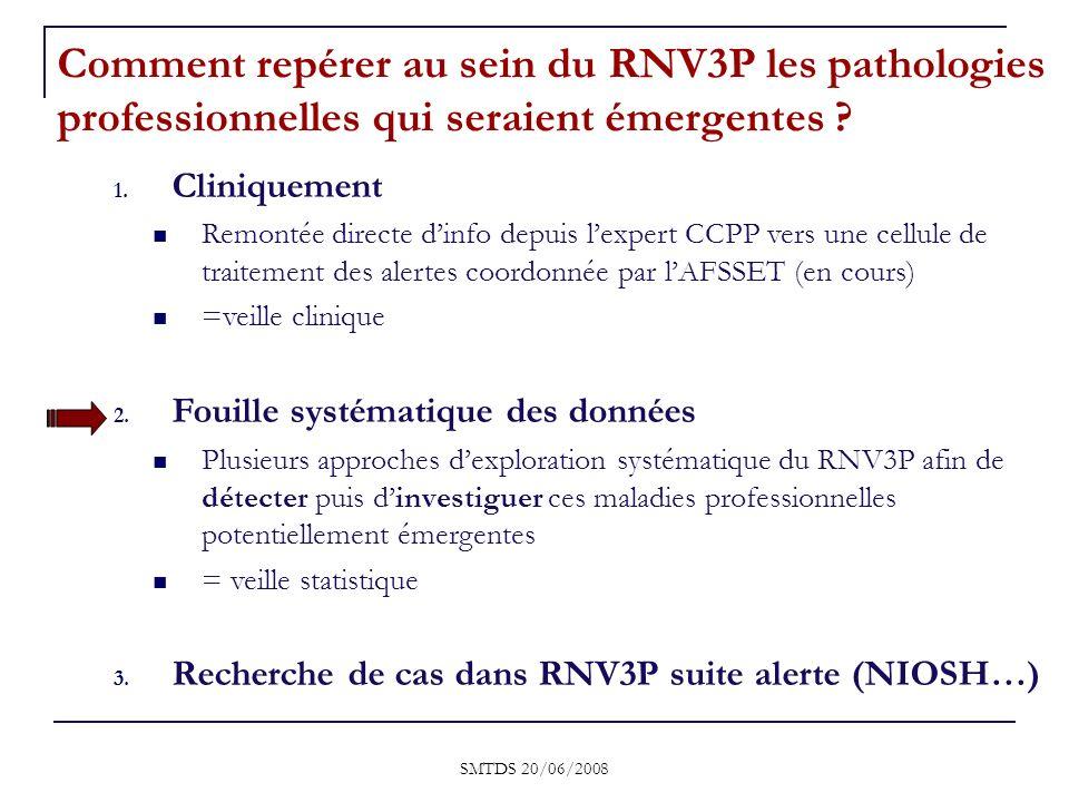 Comment repérer au sein du RNV3P les pathologies professionnelles qui seraient émergentes