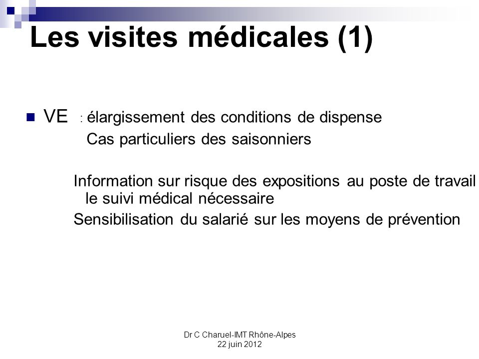 Les visites médicales (1)