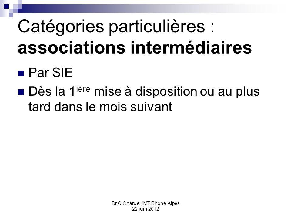 Catégories particulières : associations intermédiaires