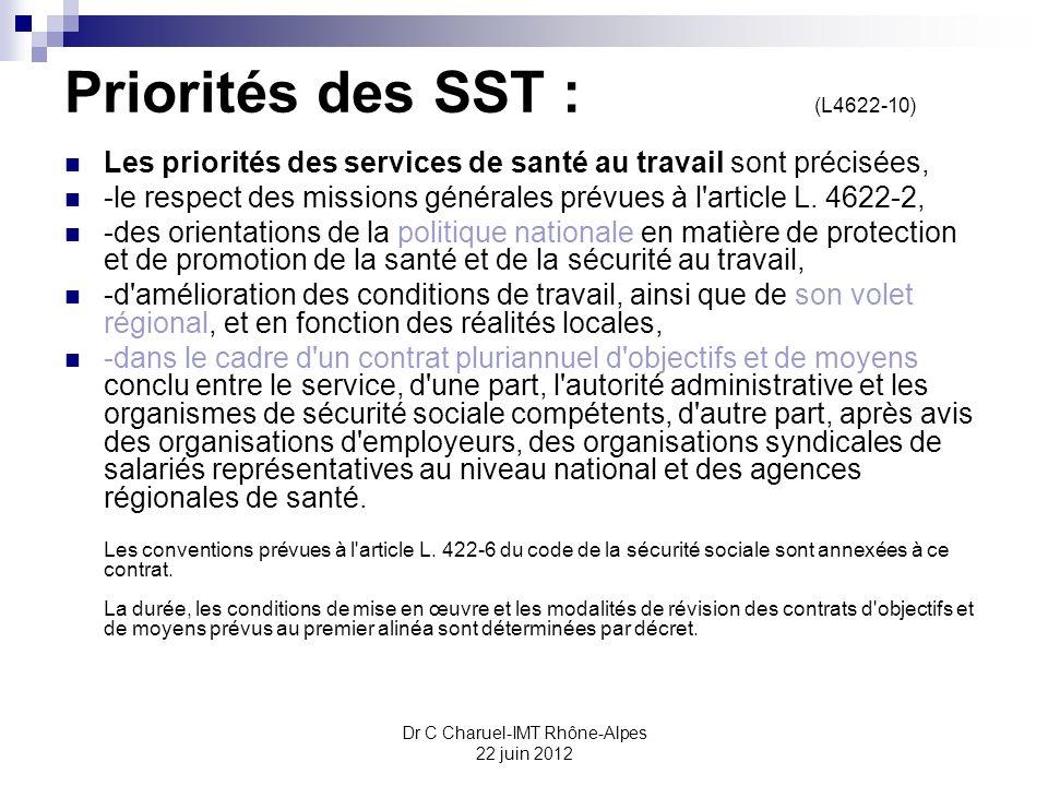 Priorités des SST : (L4622-10)
