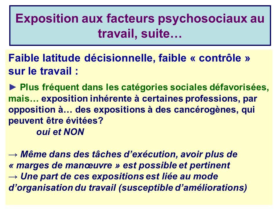 Exposition aux facteurs psychosociaux au travail, suite…